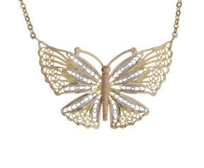 Pre-Owned 9ct Rose, White & Yellow Gold Butterfly Necklace