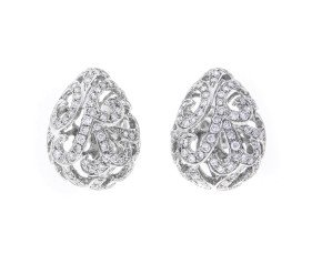 18ct White Gold & Diamond Whispering Small Hollow Tear Earrings