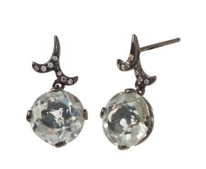 18ct Gold Green Amethyst Whispering Round Drop Earrings