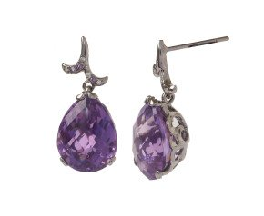 18ct Gold & Amethyst Whispering Small Tear Drop Earrings
