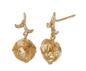 18ct Gold & Citrine Whispering Round Drop Earrings