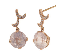 18ct Rose Gold & Rose Quartz Whispering Round Drop Earrings