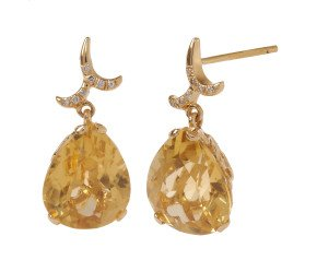 18ct Gold & Citrine Whispering Small Tear Drop Earrings