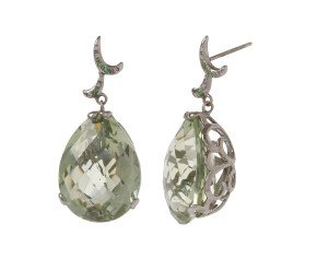 18ct Gold & Green Amethyst Whispering Large Tear Drop Earrings