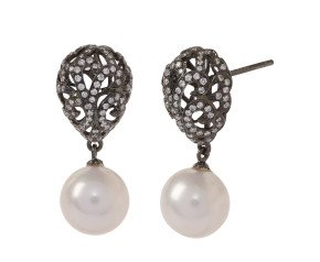 18ct Gold Whispering Small Hollow Tear Drop & Round Pearl Earrings