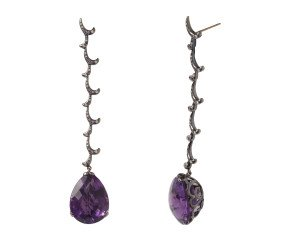 18ct Gold & Amethyst Long Whispering Tear Drop Earrings
