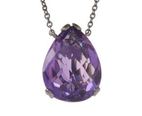 18ct Gold & Amethyst Whispering Small Tear Drop Pendant