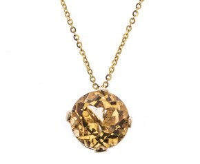 18ct Gold & Citrine Whispering Small Round Pendant