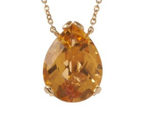 18ct Gold & Citrine Whispering Small Tear Drop Pendant