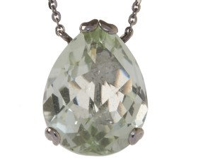 18ct Gold & Green Amethyst Whispering Small Tear Drop Pendant