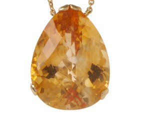 18ct Gold & Citrine Whispering large Tear Pendant