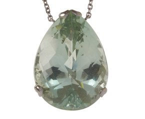 18ct White Gold & Green Amethyst Whispering large Tear Pendant