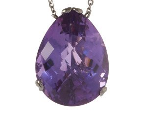 18ct Gold & Amethyst Whispering large Tear Pendant