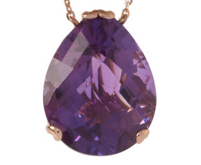 18ct Rose Gold & Amethyst Whispering Large Tear Pendant