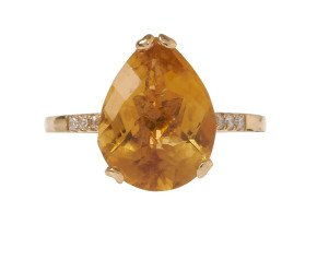18ct Gold & Citrine Whispering Small Tear Ring