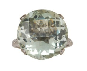 18ct White Gold Green Amethyst Whispering Large Round Ring
