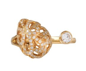 18ct Gold Whispering Diamond & Small Hollow Tear Ring