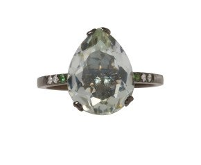 18ct White Gold & Green Amethyst Whispering Small Tear Ring