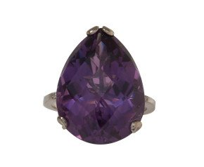 18ct Gold & Amethyst Whispering Large Tear Ring