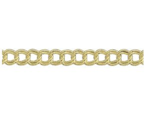 9ct Yellow Gold 6.05mm  Double Curb Chain Bracelet