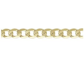 9ct Yellow Gold 7mm Metric Curb Chain Bracelet