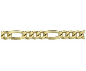 9ct Yellow Gold 6.51mm Filed Figaro Chain Bracelet