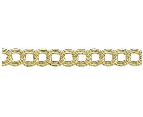 18ct Yellow Gold 7.58mm Double Curb Chain Bracelet