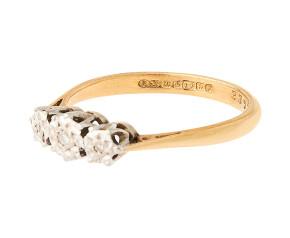 18ct Gold Diamond Vintage Trilogy Ring