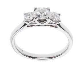 The Classic Collection Platinum 0.50ct Diamond Trilogy Ring