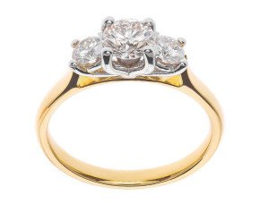 The Classic Collection 18ct Gold 1.00ct Diamond Trilogy Ring