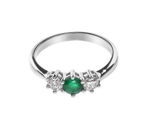 18ct White Gold Emerald & Diamond Trilogy Ring