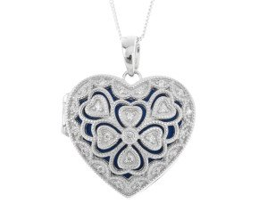Sterling Silver & Cubic Zirconia Heart Locket