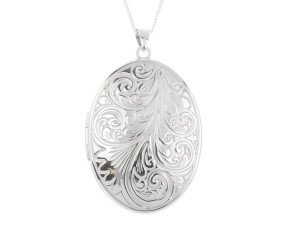 Sterling Silver Large Oval Embossed Locket