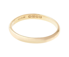 Antique 1860's 22ct Gold D Shaped 2.40mm Wedding Band
