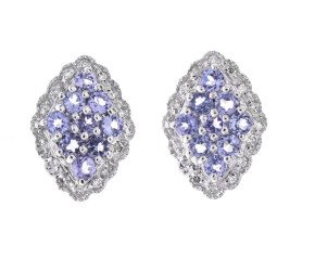 9ct White Gold Tanzanite & Diamond Cluster Earrings