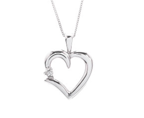 Pre-Owned 9ct White Gold Diamond Heart Pendant