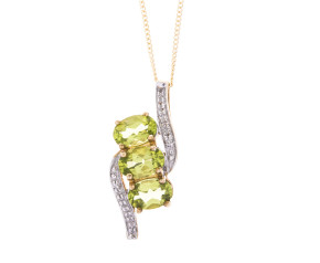Pre-Owned 9ct Gold Peridot & Diamond Pendant