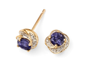9ct Gold Iolite & Diamond Swirl Earrings