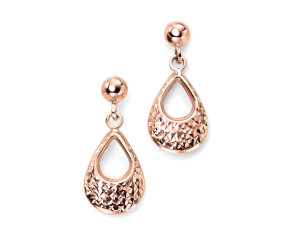 9ct Rose Gold Textured Drop Earrings