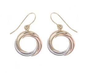 9ct Rose White & Yellow Gold Circle Drop Earrings