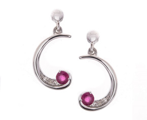 9ct White Gold Ruby & Diamond Swirl Drop Earrings