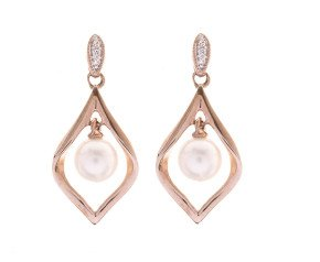 9ct Rose Gold Pearl & Diamond Drop Earrings
