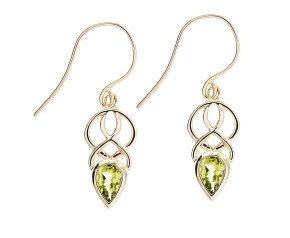 9ct Gold & Peridot Celtic Style Drop Earrings