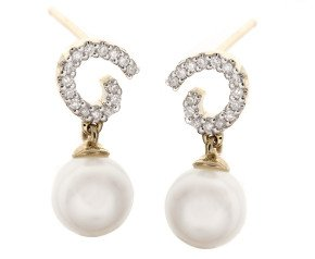 9ct Gold Pearl & Diamond Drop Earrings