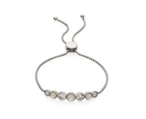 Sterling Silver, Mother of Pearl & Cubic Zirconia Toggle Bracelet