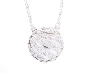 Sterling Silver & Cubic Zirconia Round Wave Necklace
