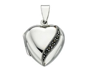 Sterling Silver & Marcasite Heart Shaped Locket