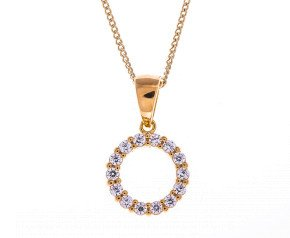 Sterling Silver, Gold Vermeil & Cubic Zirconia Halo Pendant