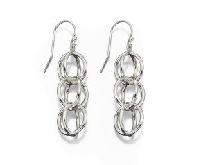 Sterling Silver Geometric Sphere Drop Earrings
