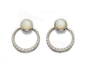 Sterling Silver Mother of Pearl & Cubic Zirconia Jacket Earrings